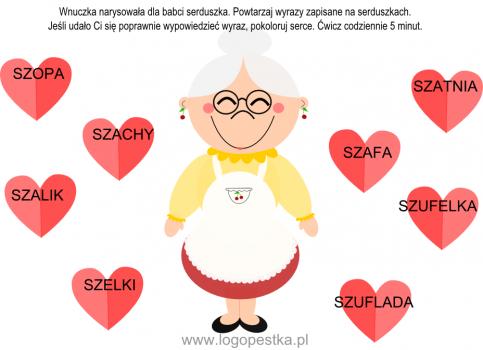 """""""Kochamy babcię"""" KOLOROWA KARTA PRACY"""