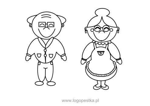 Babcia i dziadek – karta pracy, kolorowanka