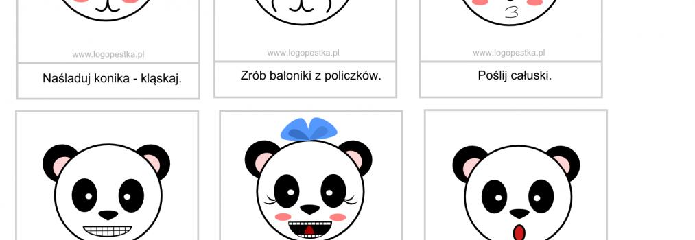 """""""Panda stroi miny"""" – karty do ćwiczeń buzi i języka oraz logopedyczne memory"""