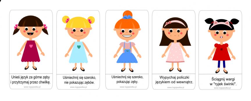 Wesołe minki mają dziewczynki – karty z gimnastyką buzi i języka – 6 zastosowań