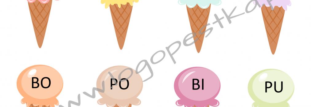 Lodowa zabawa logopedyczna – różnicowanie głosek P – B