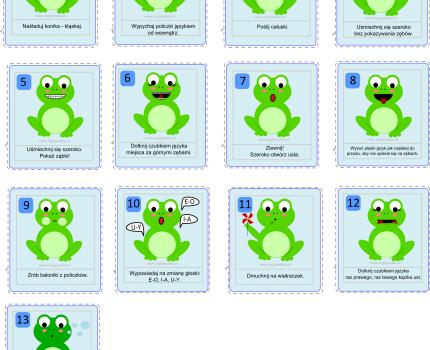Żabi Piotruś – 13 kart z ćwiczeniami narządów mowy